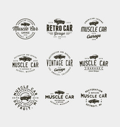 Set of vintage muscle car garage logos vector