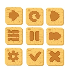 set wooden buttons vector image