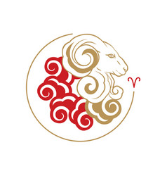 Sign of zodiac aries vector