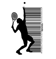 Silhouette of a tennis player and barcode vector