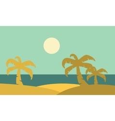 Silhouette of plam landscape vector