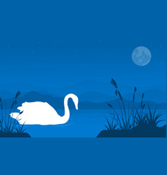 Silhouette of swan with grass landscape vector