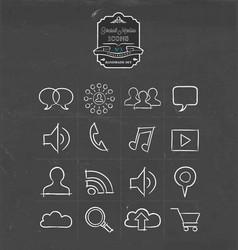 social media hand drawn sketch icon set vector image