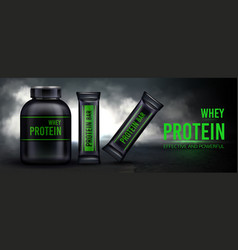 Sport nutrition protein whey supplement and bars vector