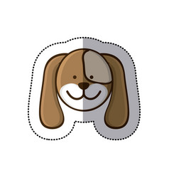 sticker colorful picture face cute dog animal vector image