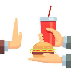 Stop fast food junk snacks concept vector