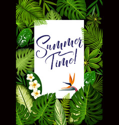 Summer banner with tropical palm and exotic flower vector