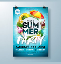 Summer party flyer design with typography vector