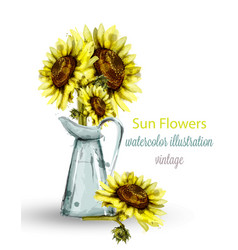 sunflowers bouquet watercolor floral vector image