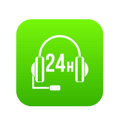 support 24 hours icon digital green vector image