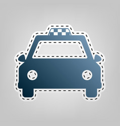 taxi sign blue icon with vector image