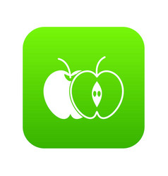 the whole apple and half icon digital green vector image
