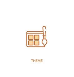 Theme concept 2 colored icon simple line element vector