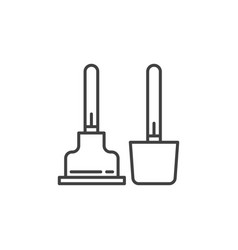 toilet plunger and brush icon in thin line vector image