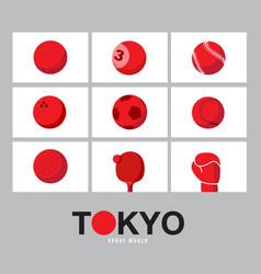 tokyo japan flag concept sports equipment vector image