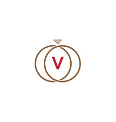 v letter ring diamond logo vector image