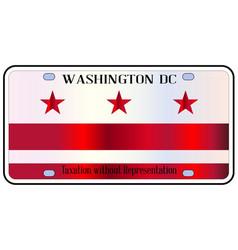 Washington dc license plate flag vector