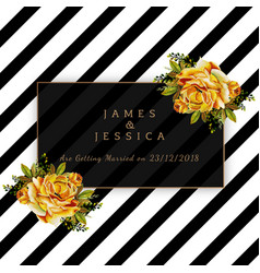 watercolor floral wedding invitation with stripes vector image