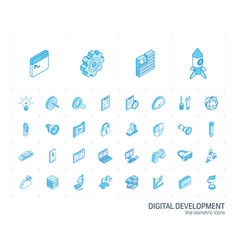 web and app development isometric line icons 3d vector image