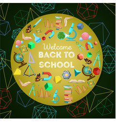 Welcome back to school colorful background vector