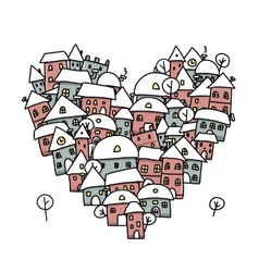 Winter city of love heart shape sketch for your vector