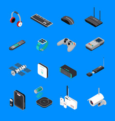 Wireless electronic devices isometric icons vector