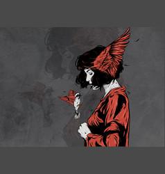 Woman with a bird vector