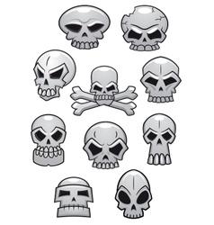 Cartoon Halloween skulls vector image