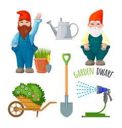 garden dwarf working tools for gardening metal vector image