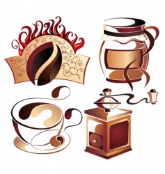 vector coffee elements set vector image