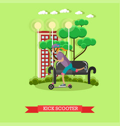 a girl riding kick scooter vector image vector image