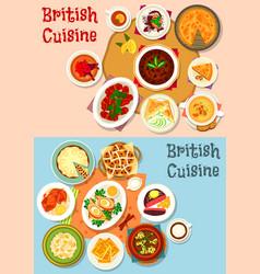 british cuisine popular dishes icon set design vector image vector image