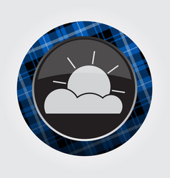 Button with blue black tartan - partly cloudy vector