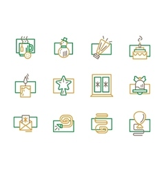 Green and yellow simple line Christmas icon vector image