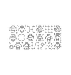 robots horizontal banner or in vector image vector image