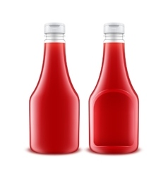 Set of Plastic Red Ketchup Bottle for Branding vector image vector image