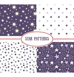Set of star seamless patterns vector image