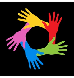 Colorful Five Hands Icon on black background vector image