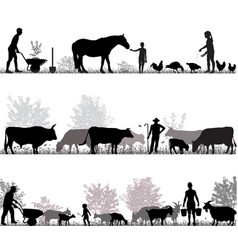 family of farmers vector image