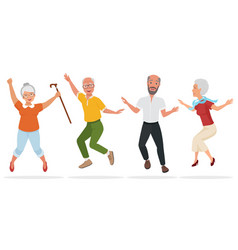 group of elderly people together active and happy vector image