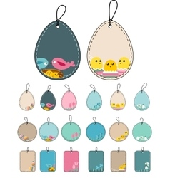 Set with easter tags with birds vector image