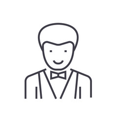 waiter sign line icon sign vector image