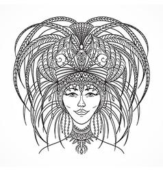 brazilian carnival woman in festival costume vector image
