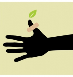hand with leaf and plants vector image