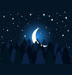 moon in the fir trees flat midnight a crescent vector image vector image