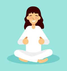 pretty woman exercising yoga poses training vector image