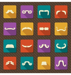 Set of mustaches retro icons vector image vector image