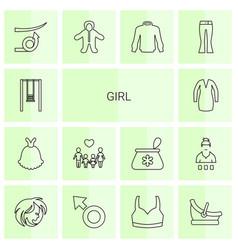 14 girl icons vector