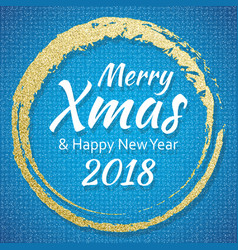 2018 gold and blue card with merry christmas text vector
