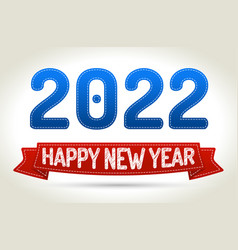 2022 - happy new year- red ribbon with shadow on vector